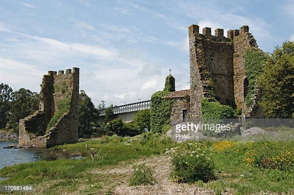 Spain Galicia Catoira Torres do Oeste castle built in 9th century by the king Alfonso III of Leon the Great as a defense fortress They are the ruins...