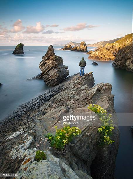 Spain, Galicia, Ferrol, Seascape with a man