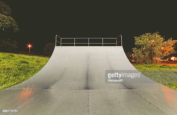Spain, Galicia, Ferrol, Skatepark at night outdoors