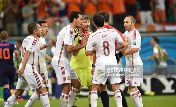 Spain goalkeeper Iker Casillas appeals to referee Nicola Rizzoli after Netherland's' Stefan de Vrij scores his side's third goal