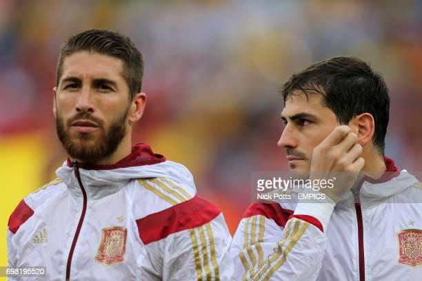 Spain goalkeeper Iker Casillas with teammate Sergio Ramos