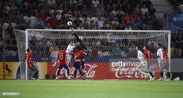 Spain goalkeeper Kepa Arrizabalaga and Daniele Rugani of Italy during their UEFA European Under21 Championship 2017 semifinal match on June 27 2017...