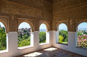 Spain Granada The Alhambra View Over The City from The Generalife Patio