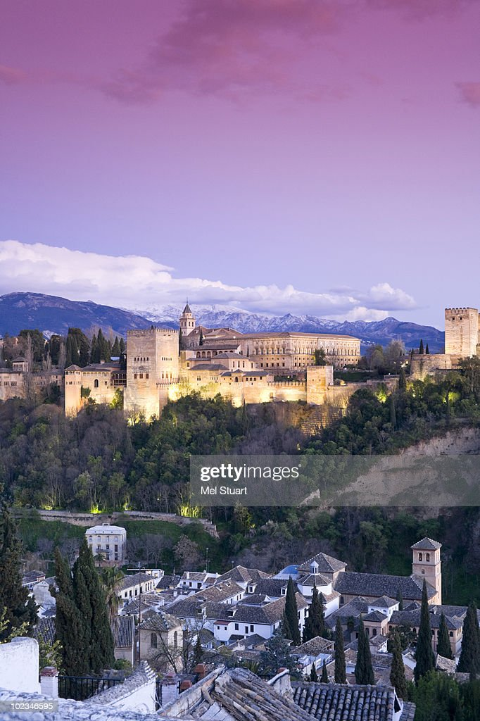 Spain, Granada, View over Alhambra and town, Sierra Nevada in background