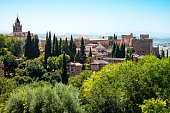 Spain Granada View Over The Alhambra Palaces from the Generalifa Gardens