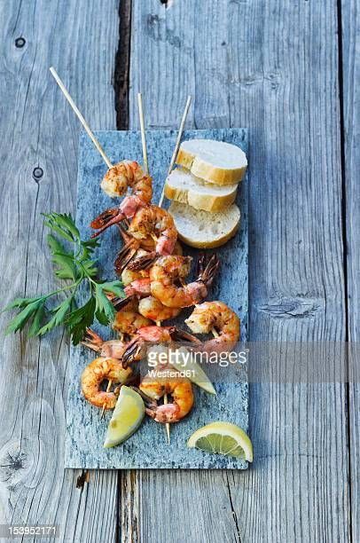 spain, Grilled prawn skewers with bread