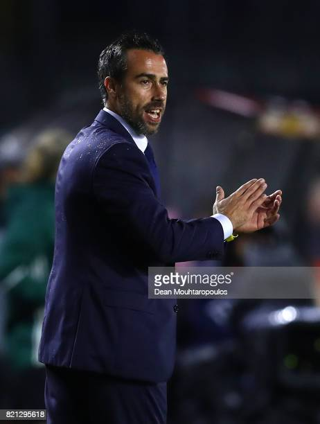 Spain Head Coach Jorge Vilda gives instructions during the UEFA Women's Euro 2017 Group D match between England and Spain at Rat Verlegh Stadion on...
