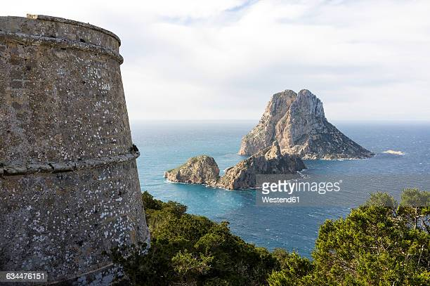 Spain, Ibiza, old pirate tower near Es Vedra