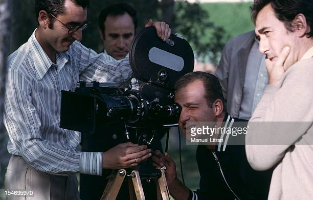 Spain in July 1971 Juan Carlos of Spain looking into the eye of a camera surrounded by the team of the movie