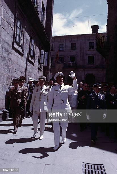 Spain in July 1971 Juan Carlos of Spain Saint Jacques de Compstelle uniformed Brigadier General he greets the crowd with a wave of the hand