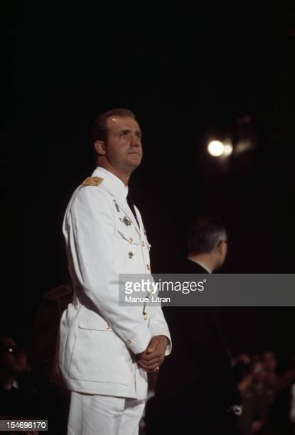 Spain in July 1971 Juan Carlos of Spain Saint Jacques de Compstelle the cathedral the prince in the uniform of a Brigadier General attends Mass