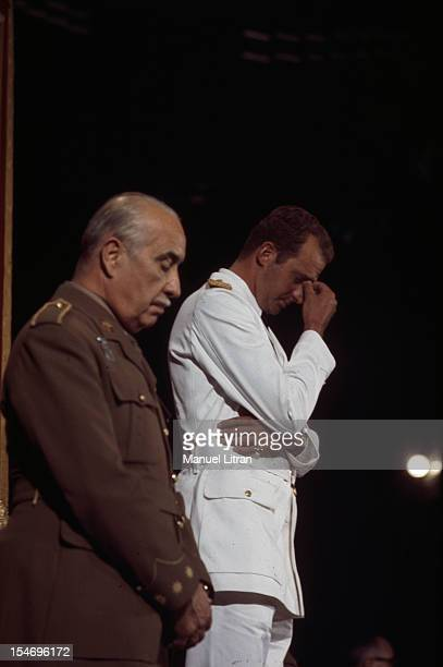Spain in July 1971 Juan Carlos of Spain Saint Jacques de Compstelle the cathedral the prince in the uniform of a Brigadier General attends Mass he...
