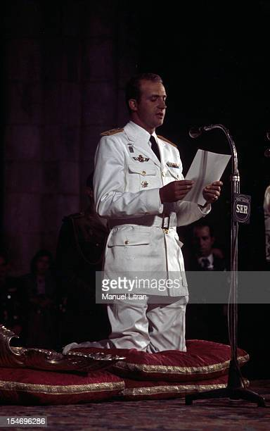 Spain in July 1971 Juan Carlos of Spain Saint Jacques de Compstelle the cathedral the prince in the uniform of general of brigade kneeling on...