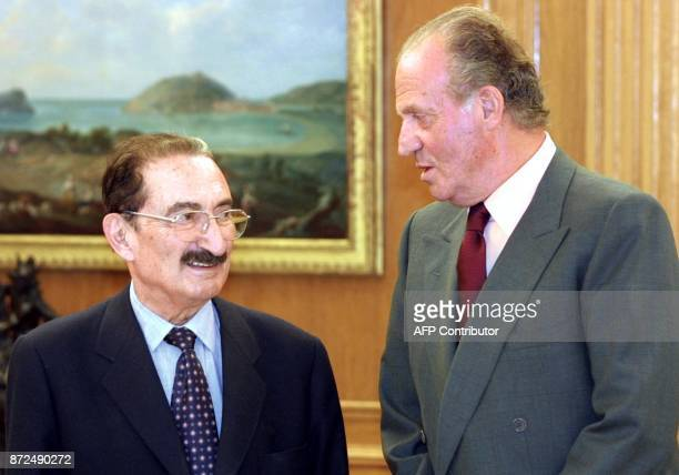 Spain King Juan Carlos greets Turkish Prime Minister Bulent Ecevit 04 May 2001 before their meeting at the Zarzuela palace in Madrid Ecevit said...
