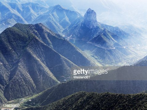 Spain, La Gomera, View of Roque Cano mountains