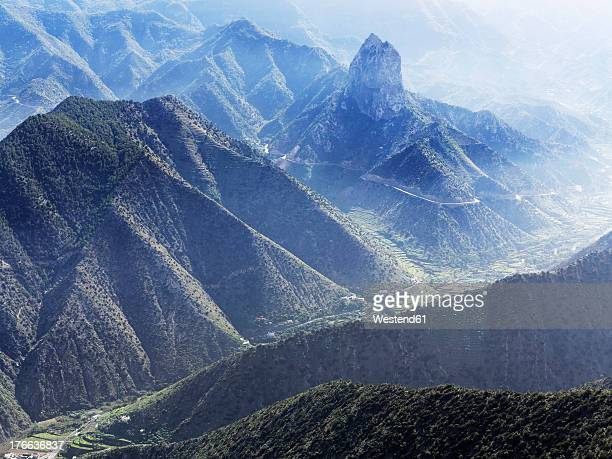 Spain, La Gomera, View of Roque Cano mountains