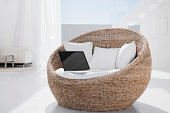 Spain, Laptop on armchair