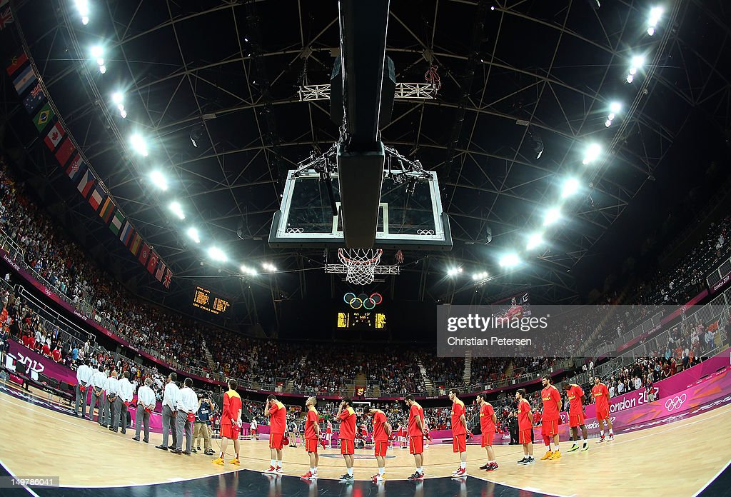Spain lines up for the National Anthem before the Men's Basketball Preliminary Round match against Russia on Day 8 of the London 2012 Olympic Games at the Basketball Arena on August 4, 2012 in London, England.