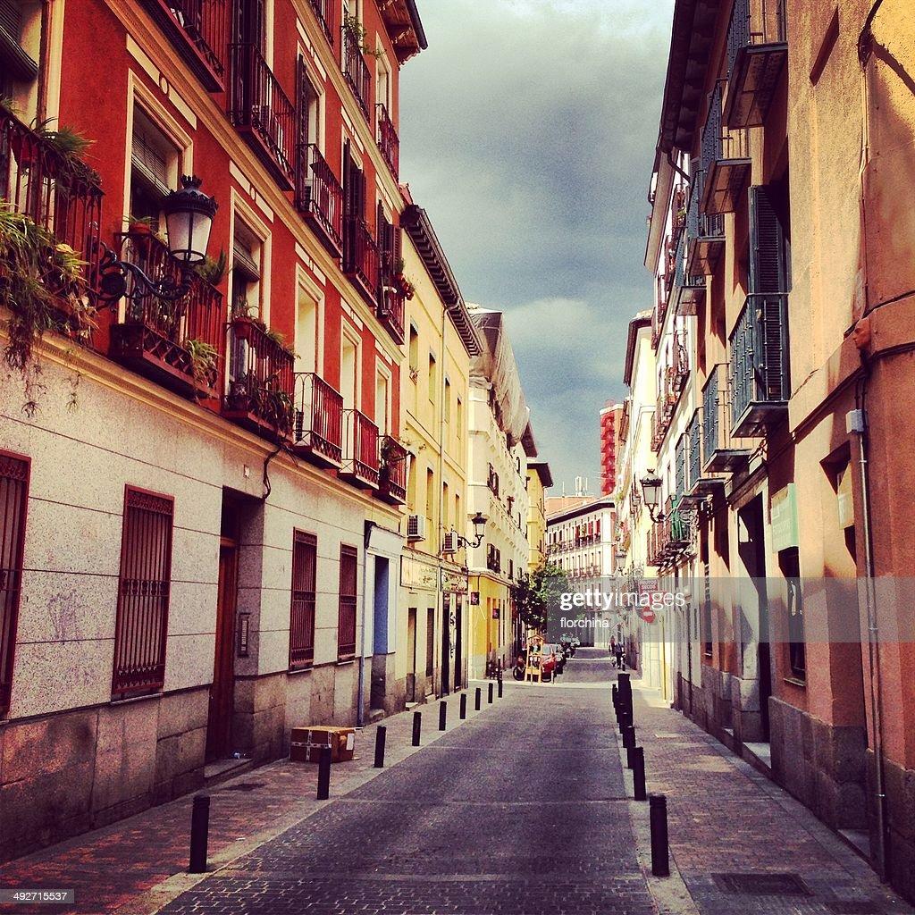 Spain, Madrid, Barrio de las Letras, Little street : Stock Photo