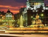 Spain, Madrid, Cibeles Fountain at night (long exposure)
