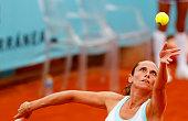 Italian tennis player Roberta Vinci serves against Puerto Rican tennis player M��nica Puig during the Madrid WTA Masters Series Tournament tennis...
