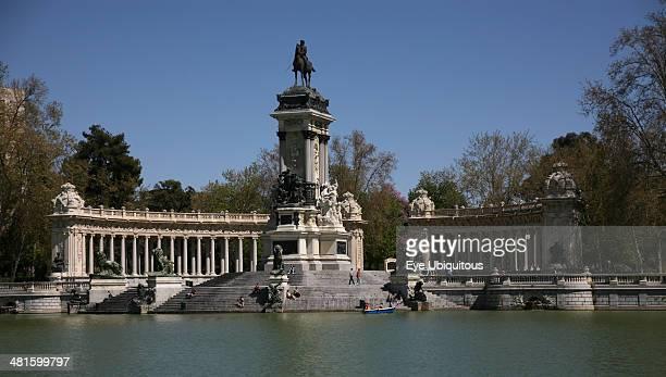 Spain Madrid Monument to Alfonso XII in Retiro Park Parque el Retiro Lake in Parque Del Buen Retiro