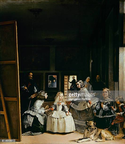 Spain Madrid Museo del Prado Whole artwork view The infanta of Spain Margaret Theresa of Habsburg in the middle of the scene surrounded by her maids...