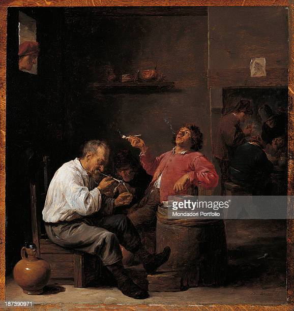 Spain Madrid Museo ThyssenBornemisza All A dark room with men smoking the pipe in the foreground They are sitting on chairs and use a barrel as a...