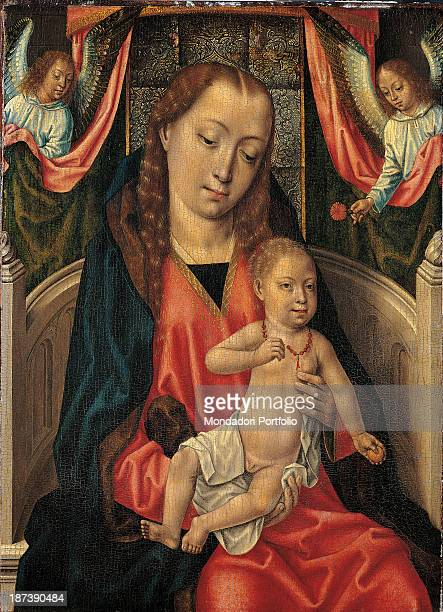 Spain Madrid Museo ThyssenBornemisza All Enthroned Madonna Saint Mary the Virgin mother of Jesus and Child with two angels who jut out a drape The...