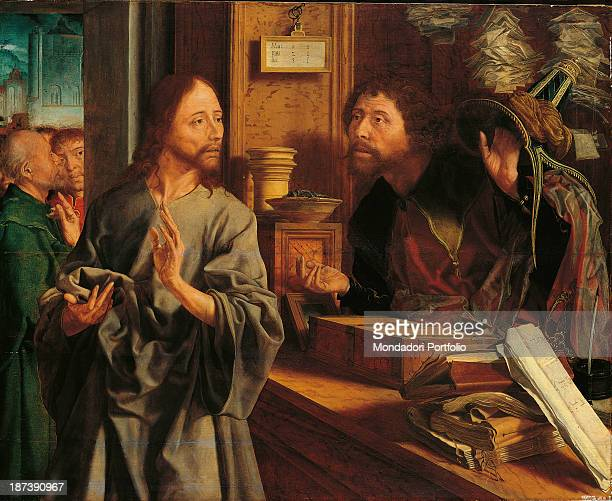 Spain Madrid Museo ThyssenBornemisza All The calling of St Matthew Jesus is ordering Matthew to follow him Around them are everyday objects such as...