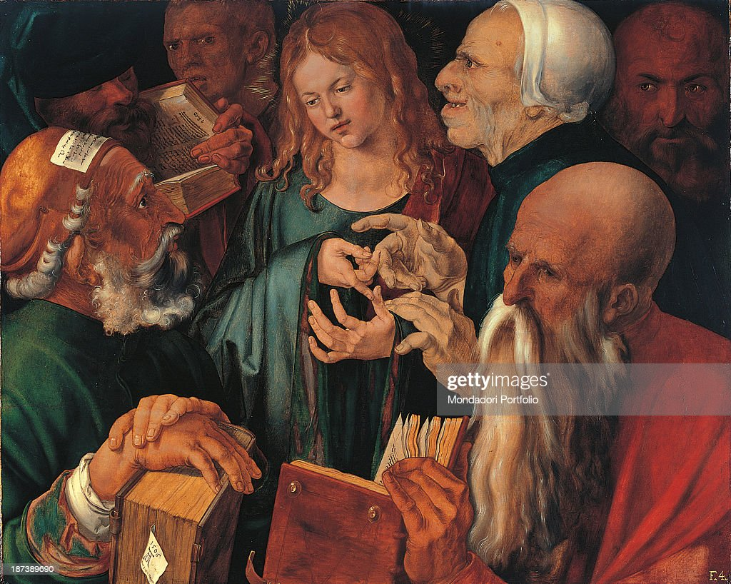 Spain, Madrid, Museo Thyssen-Bornemisza, All, Young Jesus with long hair among the faces of the old doctors with beard, hats, caps and books, In the center of the painting, a tangle of hands, .
