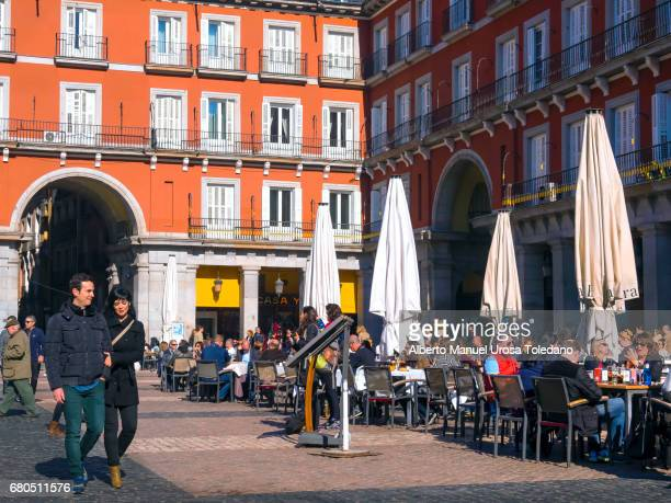 Spain, Madrid, Plaza Mayor square -Sidewalk cafes