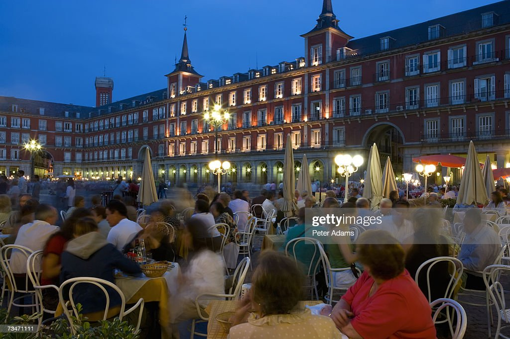 Spain, Madrid, Plaza Mayor,dusk