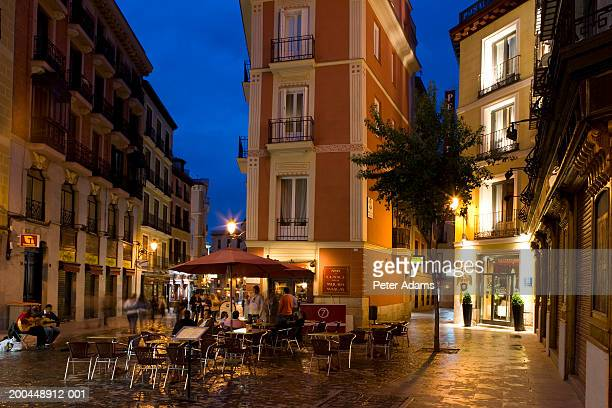 Spain, Madrid, street cafe near Plaza Mayor, night