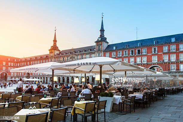 Spain, Madrid, Terrace in plaza Mayor