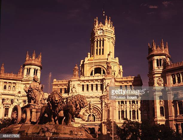 Spain Madrid The Cibeles Fountain In Front Of The Main Post Office