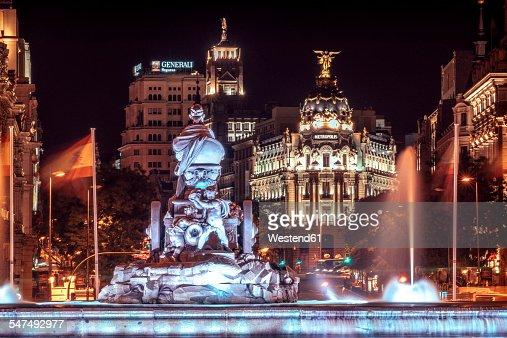 Spain, Madrid, View of Cibeles Square at night