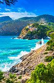 Beautiful island scener of Camp de Mar on Mallorca island, Spain Mediterranean Sea