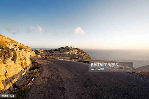 Spain, Majorca, Cap Formentor, lighthouse and coastal road