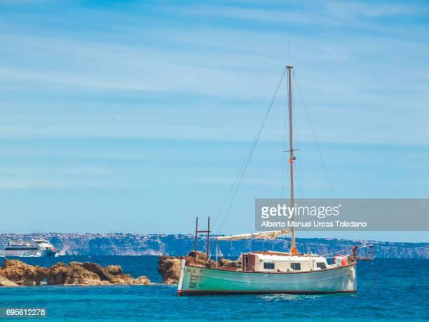 Spain, Mallorca Island, Sailboat at Portals Nous