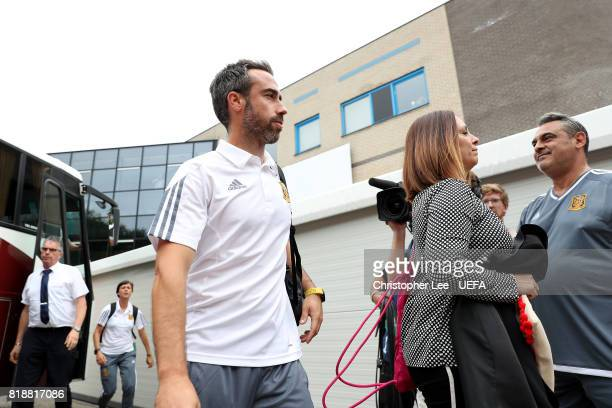 Spain manager Jorge Vilda makes his way off the team coach ahead of UEFA Women's Euro 2017 Group D match between Spain and Portugal at Stadion De...