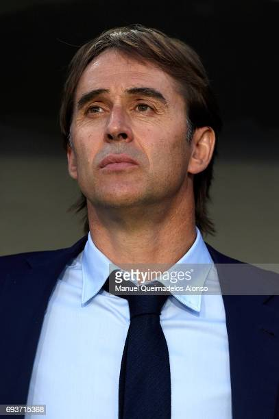 Spain manager Julen Lopetegui looks on prior to the international friendly match between Spain and Colombia at Nueva Condomina Stadium on June 7 2017...