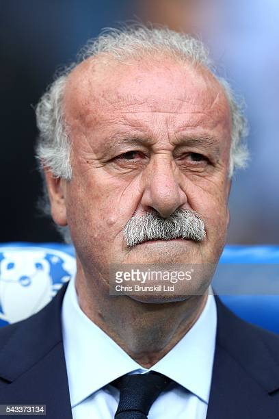 Spain manager Vicente Del Bosque looks on during the UEFA Euro 2016 Round of 16 match between Italy and Spain at Stade de France on June 27 2016 in...