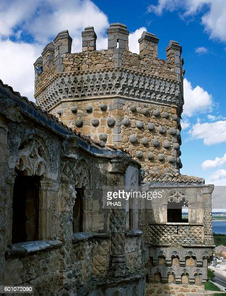 Spain Manzanares El Real New Castle of Manzanares el Real Built in 1475 by Diego Hurtado de Mendoza son of the Marquis of Santillana Exterior Detail...