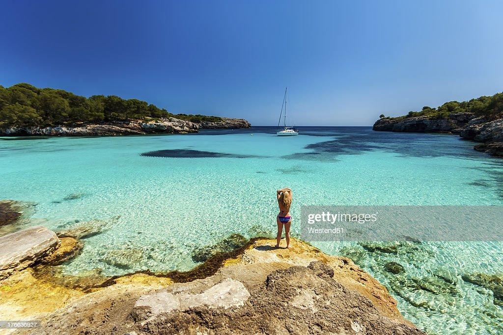 Spain, Menorca, Mature woman in sea