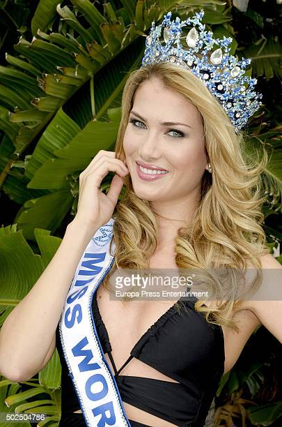 Spain Miss World 2015 Mireia Lalaguna poses for a photo session on October 26 2015 in Marbella Spain