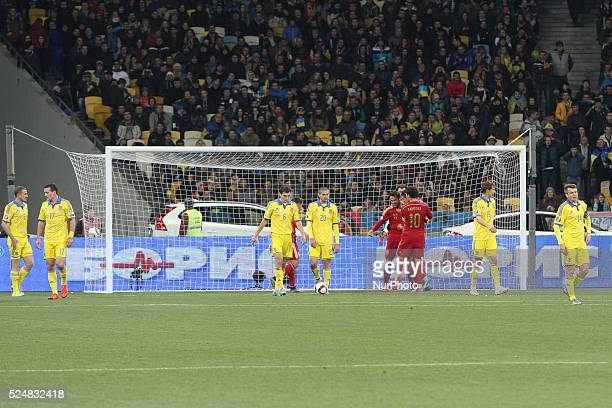 Spain national team celebrates a goal during the European Qualifiers 2016 match between Ukraine and Spain national teams at NSK Olimpiyskyi Stadium...