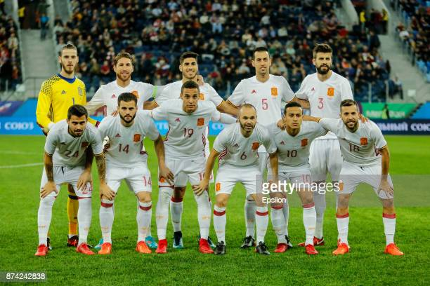 Spain national team players pose before Russia and Spain International friendly match on November 14 2017 at Saint Petersburg Stadium in Saint...