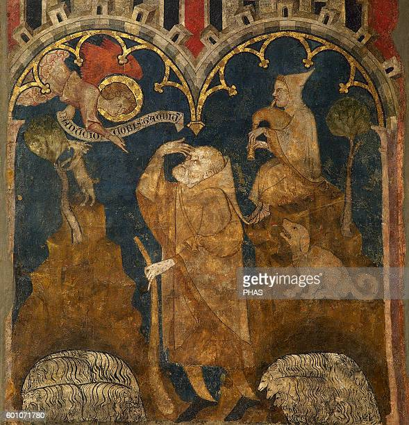 Spain Olite Navarre Second Master of Olite The Annunciation to the Shepherds Circa 1333 Gothic art From Olite Navarre Museum Pamplona Spain