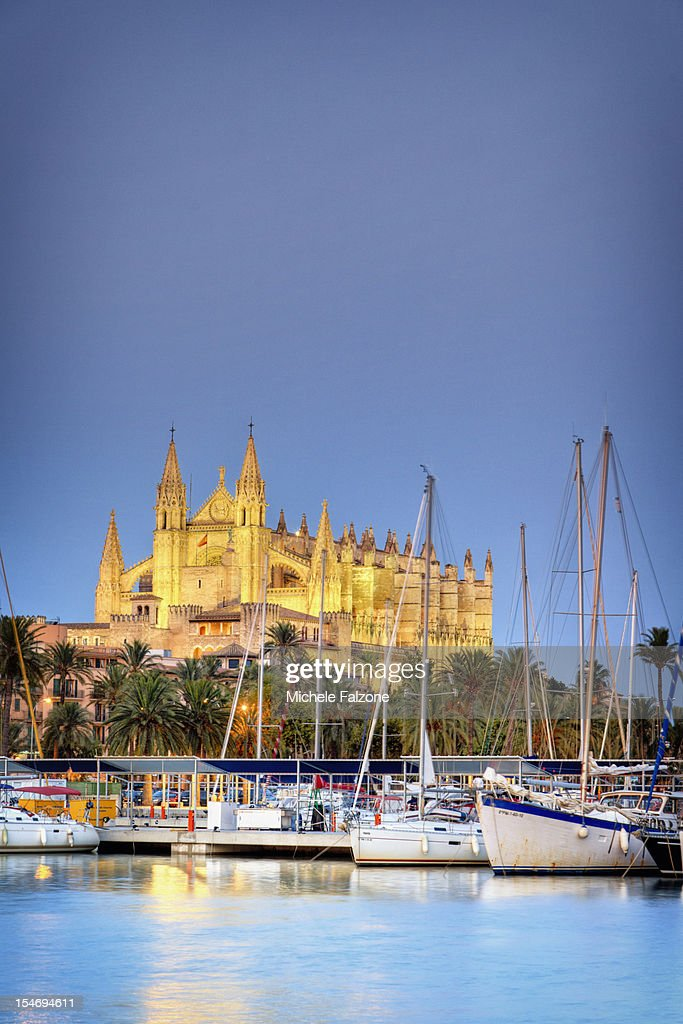 Spain, Palma de Mallorca, Harbour and Old Town